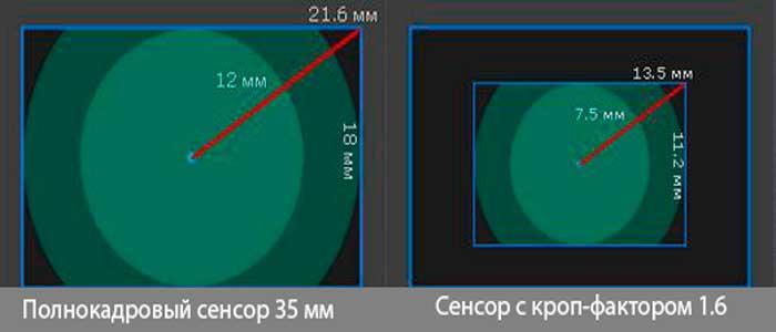 размеры полнокадрового сенсора сравнение с кроп 1,6