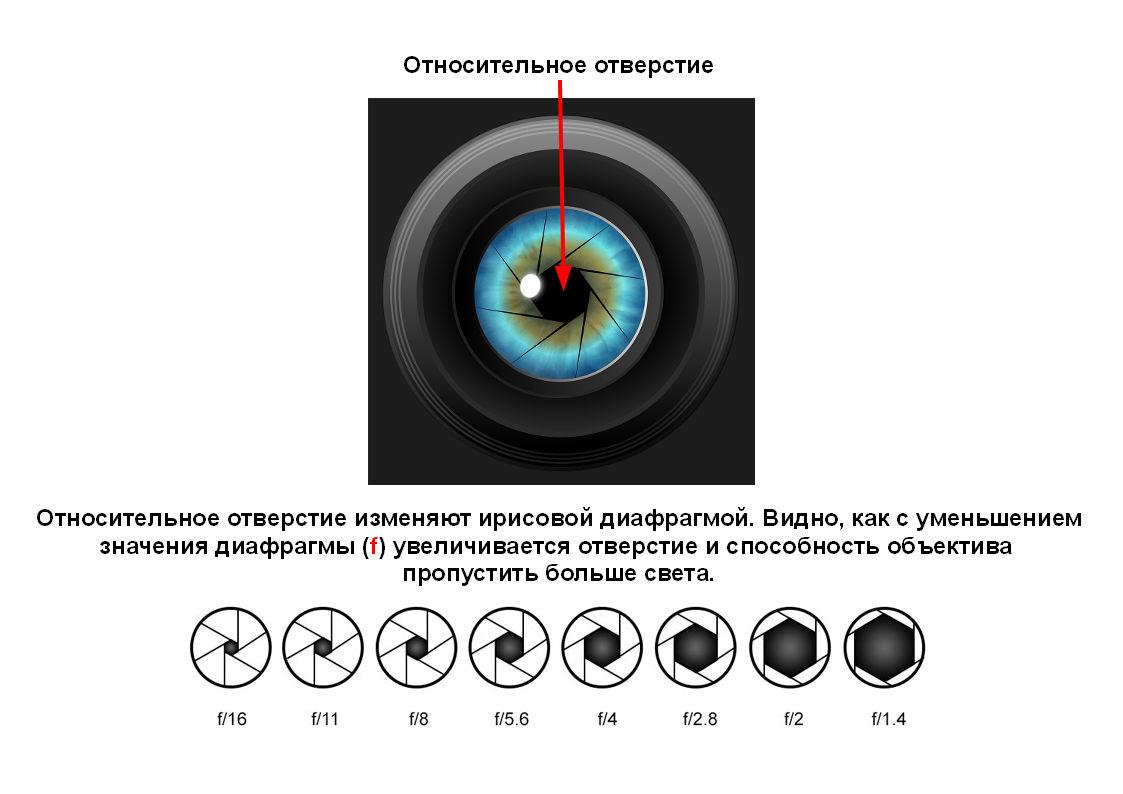 Светосила объектива характеризуется значением его относительного отверстия.