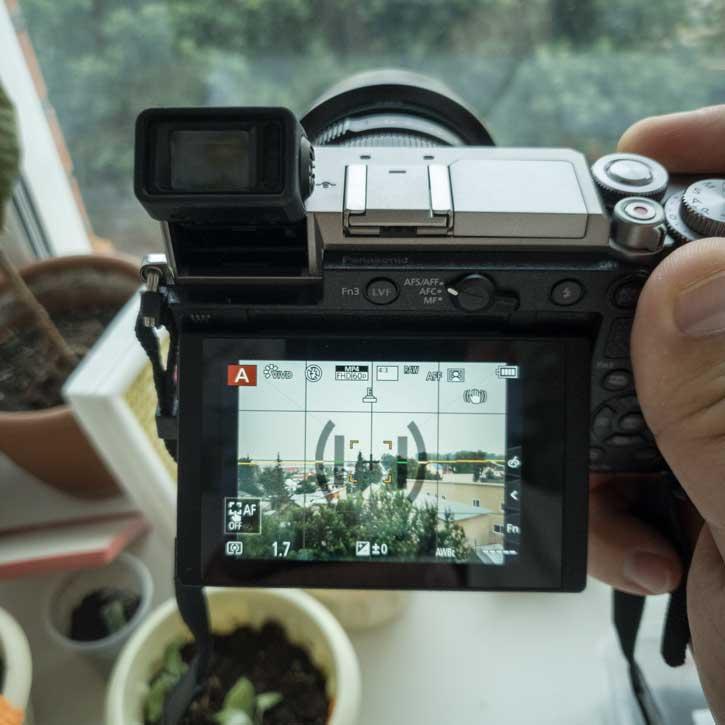 Дисплей как и электронный видоискатель GX9 использует механизм вертикального наклона