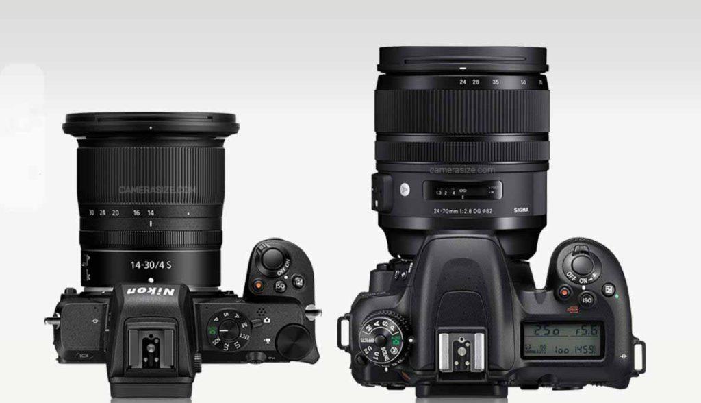 Сравнение размера и веса Nikon Z50 и Nikon D7500