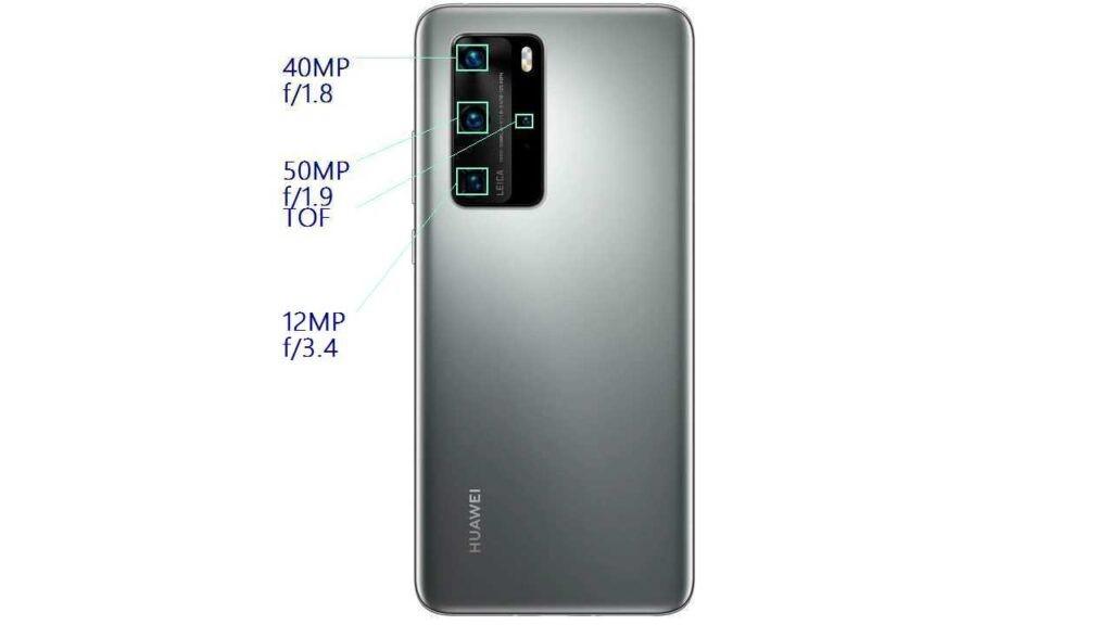 Задняя камера Huawei P40 Pro состоит и четырез модулей 50/40/12/ TOF MP (датчик глубины резкости), светодиодной вспышки - Dual LED