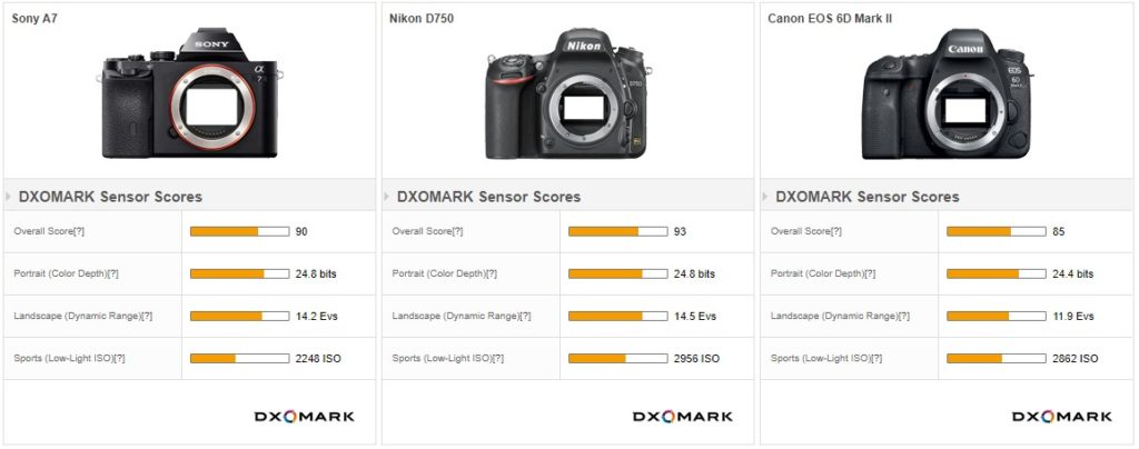 Выбраны три конкурирующие камеры, чтобы противостоять Nikon D750 в наших лабораторных тестах. Canon EOS 6D Mark II - это гораздо более современная камера с 26-мегапиксельным сенсором, экраном с переменным углом наклона и фазовой автофокусировкой на сенсоре, Sony A7