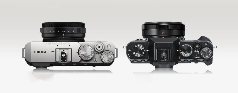 Вид сверху равнение эргономики Fujifilm X-E4 и Fujifilm X-T30